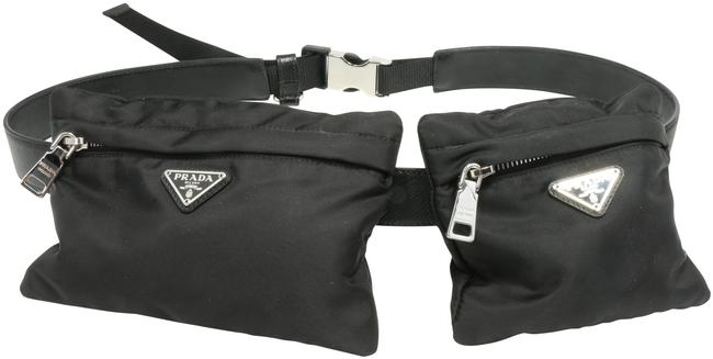 Item - Saffiano Belt with Pouches Black Leather Weekend/Travel Bag