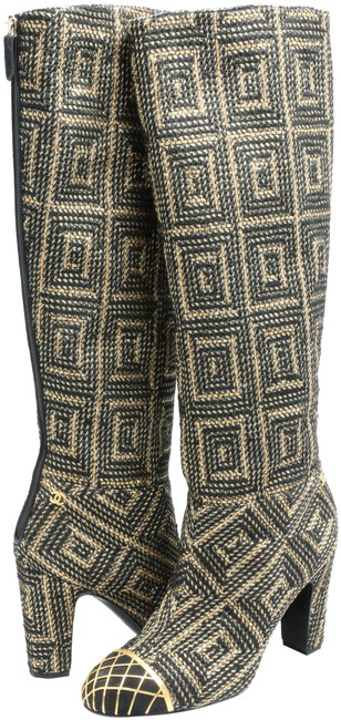 Item - Black/Gold Byzantine Collection Woven Tall Cap Boots/Booties Size EU 41 (Approx. US 11) Regular (M, B)