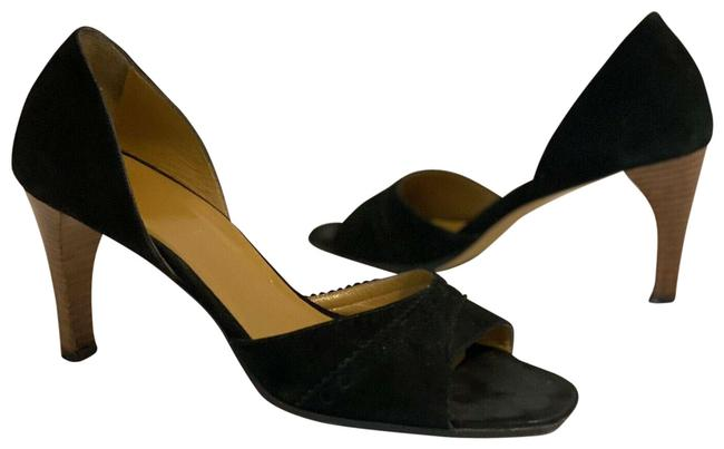 Item - Black Suede Leather D`orsay Scallop 37-c Sandals Size EU 37 (Approx. US 7) Regular (M, B)