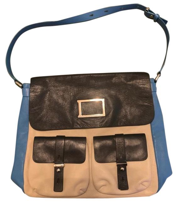 Marc by Marc Jacobs Werdie Colorblock Morgan Blue Black Cream Leather Tote Marc by Marc Jacobs Werdie Colorblock Morgan Blue Black Cream Leather Tote Image 1