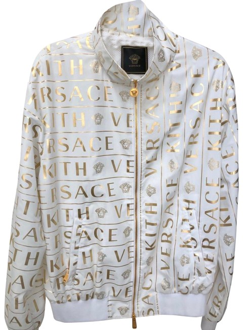 Item - White Gold Foil Monogram Track All Over Activewear Outerwear Size 12 (L)