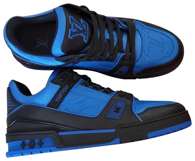 Item - Black and Blue Lv Trainer Sneakers Size EU 37.5 (Approx. US 7.5) Regular (M, B)