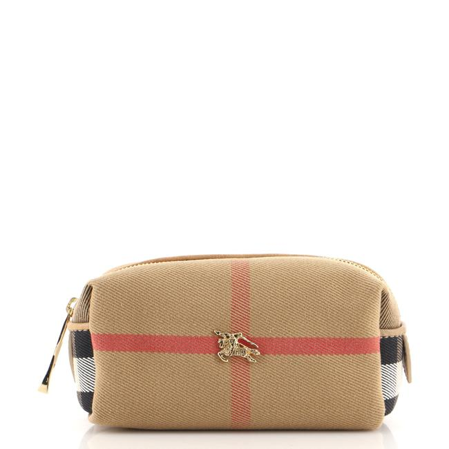 Item - Multicolor Neutral Toiletry Pouch House Check Canvas Mini Cosmetic Bag