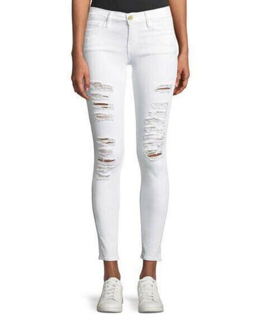 Item - White Medium Wash Womens Le De Jeanne Ripped Blanc Distressed Skinny Jeans Size 27 (4, S)