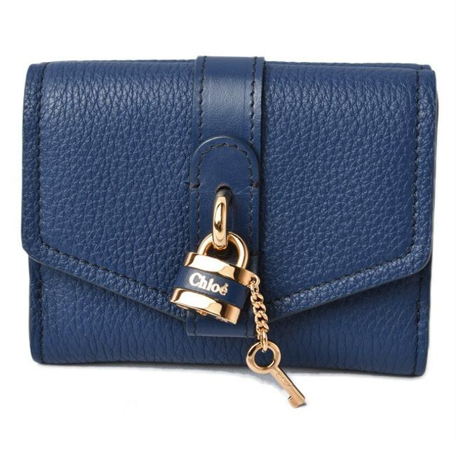 Blue Chloé Chloe Mini Aby Abbey Small Trifold Wallet Blue Chloé Chloe Mini Aby Abbey Small Trifold Wallet Image 1