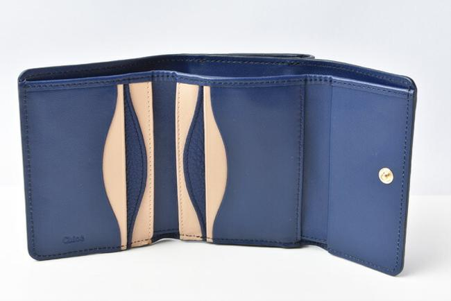 Blue Chloé Chloe Mini Aby Abbey Small Trifold Wallet Blue Chloé Chloe Mini Aby Abbey Small Trifold Wallet Image 4