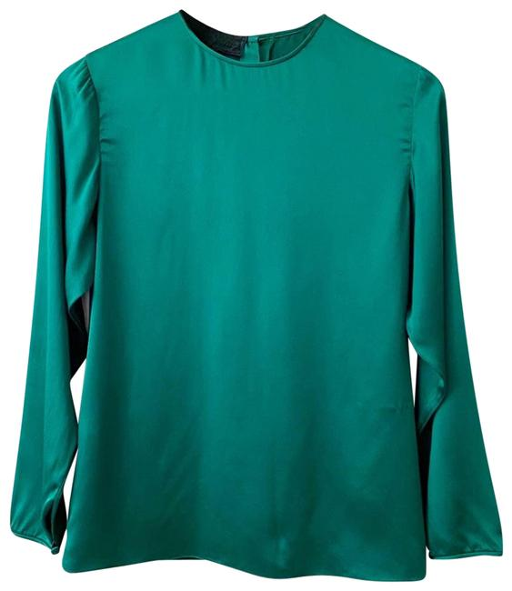 Item - Green Vintage Button Silk Emerald S Blouse Size 4 (S)