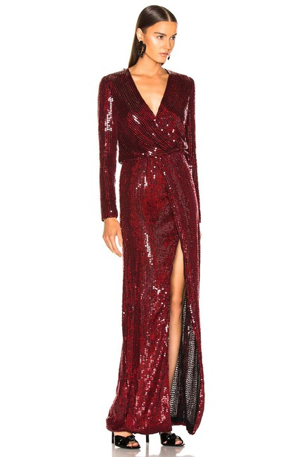 Item - Dark Red 36 Vera Sequined Gown Long Formal Dress Size 6 (S)