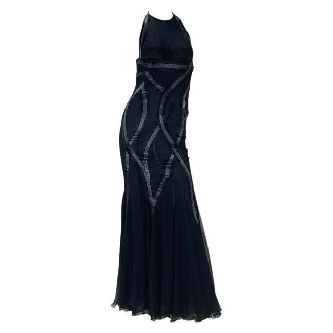 Item - Black Vintage Embellished Silk Mermaid Gown Long Night Out Dress Size 2 (XS)