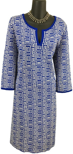 Item - Blue White Multi Collection Knit Mid-length Formal Dress Size 14 (L)