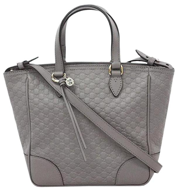 Item - New Gg Embossed Tote Satchel Gray Leather Cross Body Bag
