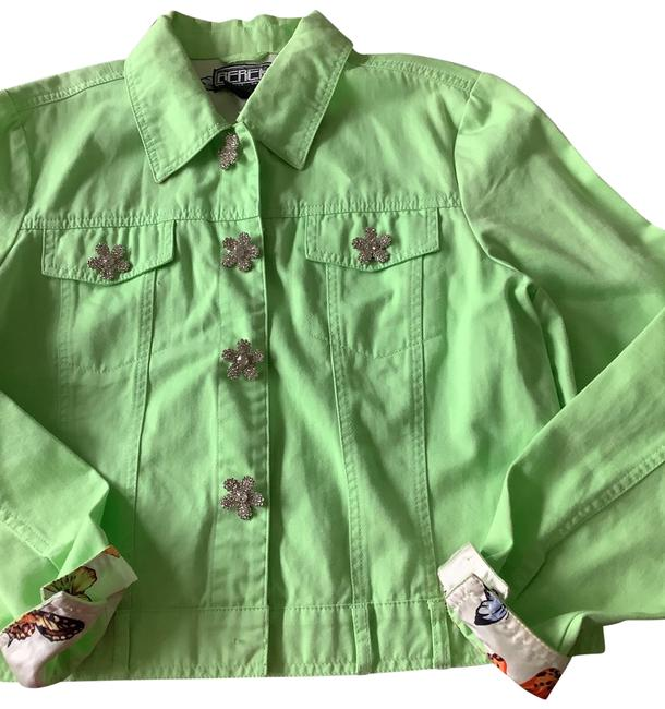Item - Lime Green Crystal Button Jacket Size 10 (M)