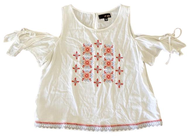Item - White L A. Calin The Shoulder Embroidered Blouse Size 12 (L)