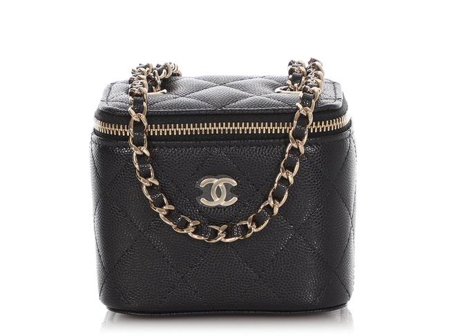 Chanel Vanity Case Mini Quilted Caviar Black Leather Cross Body Bag Chanel Vanity Case Mini Quilted Caviar Black Leather Cross Body Bag Image 1