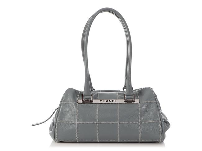 Item - Duffle Chocolate Bar-quilted Caviar Lax Gray Leather Satchel