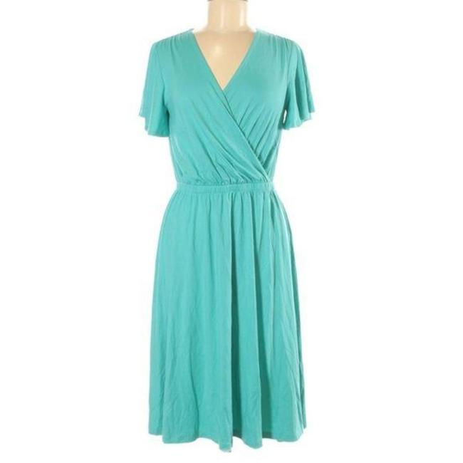 Item - Teal A-line Stretch Knit V-neck Sleeve Mid-length Short Casual Dress Size 2 (XS)