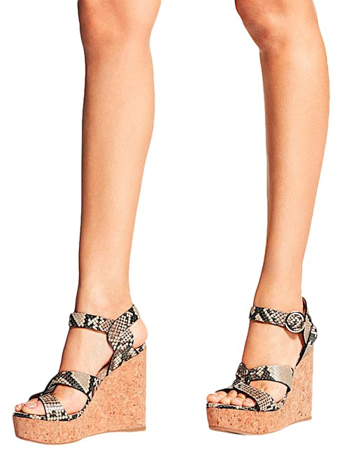 Item - Multi New Natural Snake Printed Leather Wedge Sandals Size EU 39 (Approx. US 9) Regular (M, B)