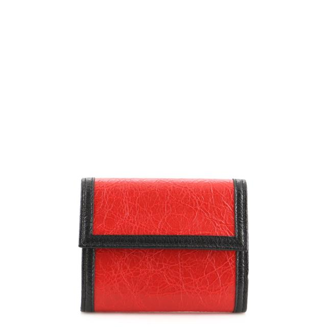 Item - Black Red Trifold Leather Compact Wallet
