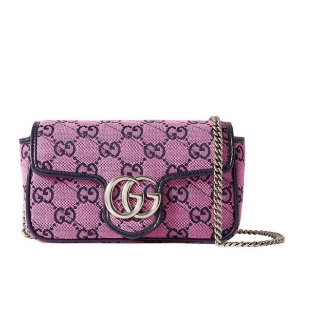 Item - Marmont New Gg Gg Supreme Supermini Canvas Leather Pink Cross Body Bag