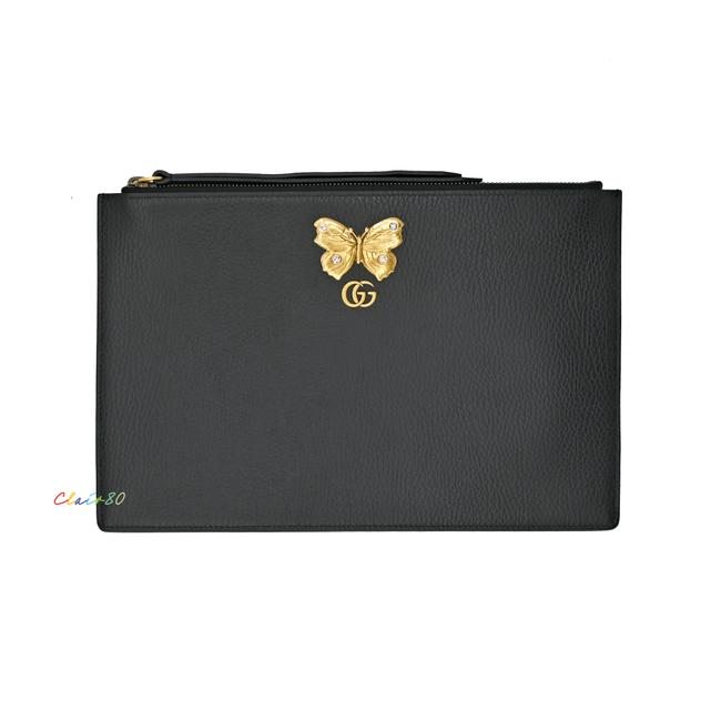 Item - 499364 Embellished Butterfly Large Zip Pouch Type: Brand Black Leather Clutch