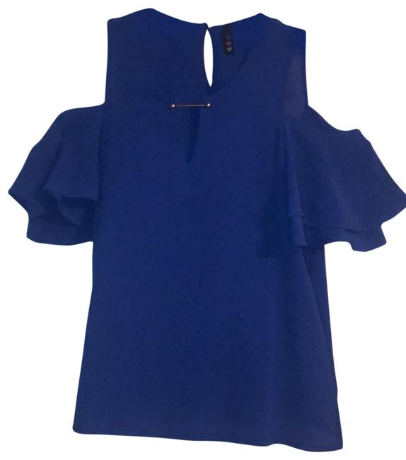 Item - Royal Blue Cold Shoulder Ruffle Sleeve Blouse Size 6 (S)