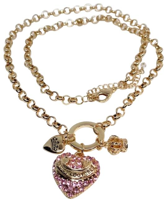 Item - Gold Pink Pave Heart Tone New Necklace