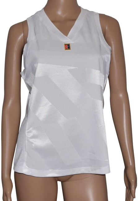 Item - White Dry-fit Sleeveless V-neck Slim Fit Tennis Activewear Top Size 12 (L)