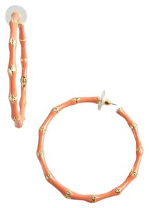 Kenneth Jay Lane Kenneth Jay Lane Coral Enamel Bamboo Hoop Earring