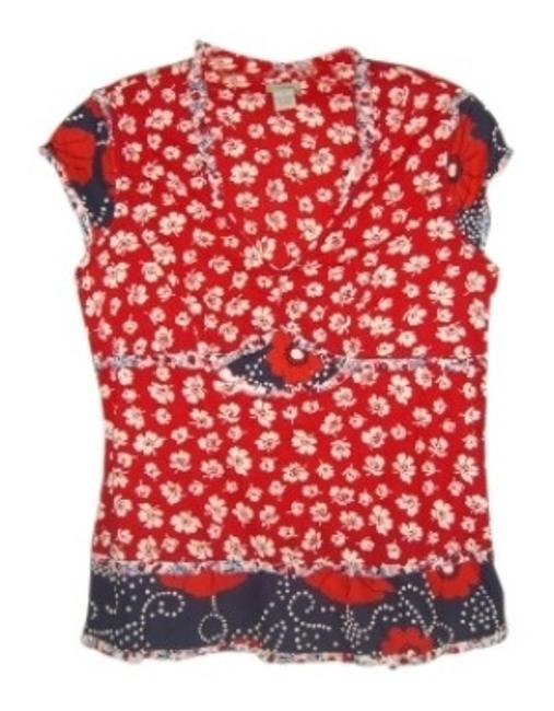Anthropologie Top red, white and blue
