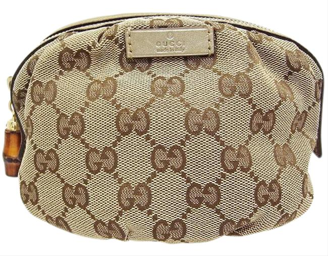 Item - Pouch Bamboo Cosmetic 246175 Accessory Case Beige / Gold Gg Canvas / Leather Clutch