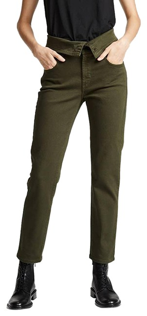 Item - Green Folie Twill Fold Over Ivy Ankle Straight Leg Jeans Size 26 (2, XS)