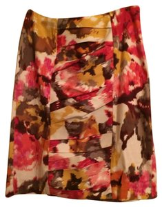 Sunny Leigh Floral Fall Spring Cinched Roushed Gold Skirt multi