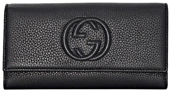 Item - Soho New Gg Card Holder Flap Wallet Black Leather Tote