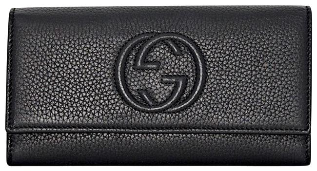 Item - Soho New Gg Card Holder Flap Wallet Tote Black Leather Clutch