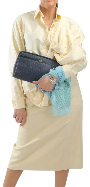 Item - Blue Clutch Navy Coated Canvas Purse Travel Makeup Pouch Cosmetic Bag