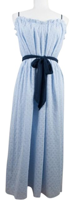 Item - Blue Talei Eyelet Belted Midi Mid-length Casual Maxi Dress Size 8 (M)