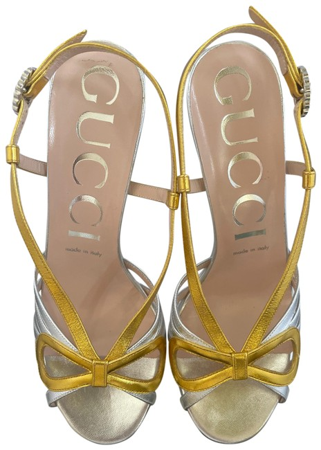 Item - Gold/Silver Leather Sandals Size EU 38.5 (Approx. US 8.5) Regular (M, B)