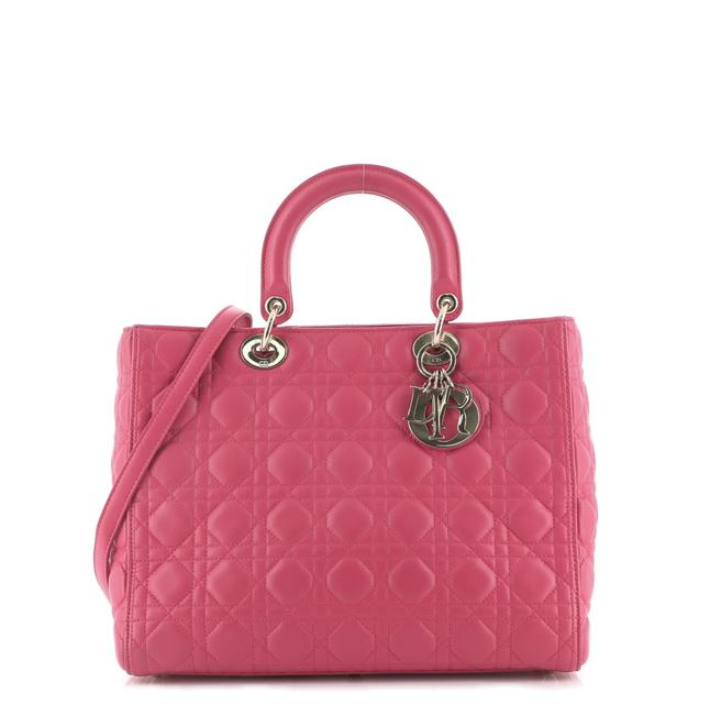 Item - Lady Cannage Quilt Lambskin Large Pink Leather Satchel