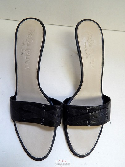 Saint Laurent Leather Slides Black Sandals