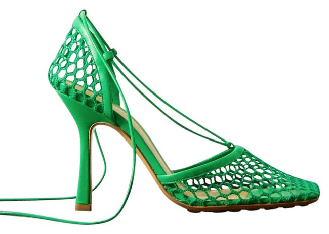 Item - Green New Lace-up Leather-trimmed Mesh Sandals Pumps Size EU 37 (Approx. US 7) Regular (M, B)