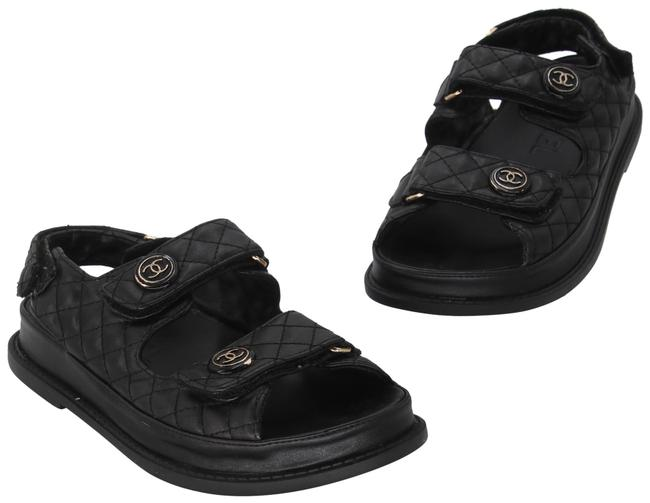 Item - Black Quilted Leather Lambskin Cc Dad Sandals Size US 7 Regular (M, B)