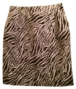 Attention Animal Print Skirt brown and white