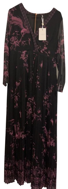 Item - Black and Purple Orient Print Long Night Out Dress Size 8 (M)