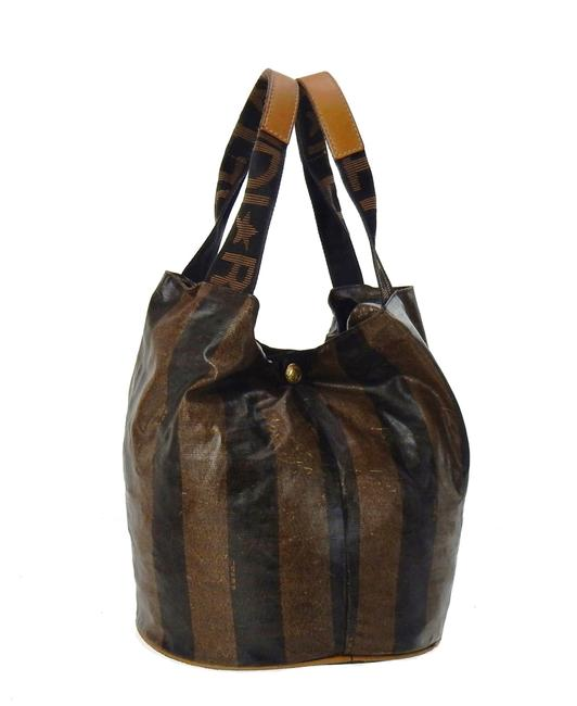 Item - Bucket Vintage Pequin Striped Rollaway Brown and Black Coated Canvas Tote