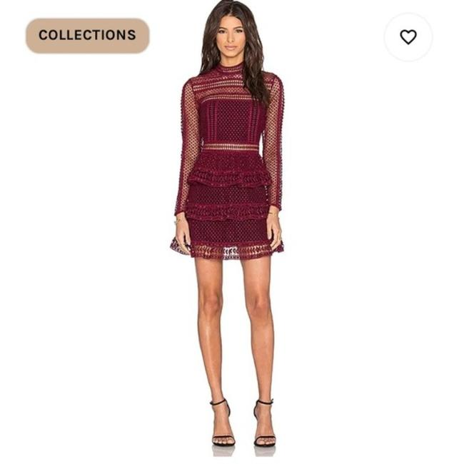 Item - Maroon High Neck Lace Panneled In Short Night Out Dress Size 4 (S)