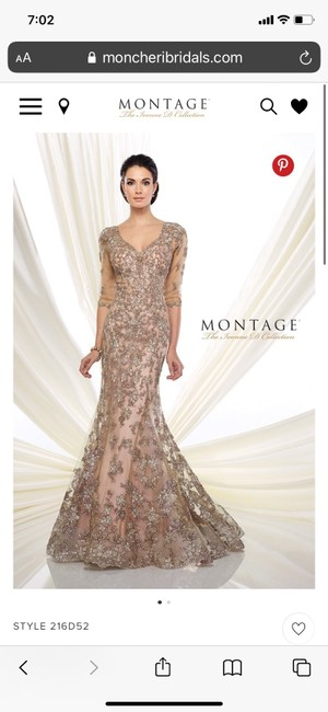 Item - Taupe/Pink Tulle Ivonne D - Style 216d52 Traditional Bridesmaid/Mob Dress Size 10 (M)