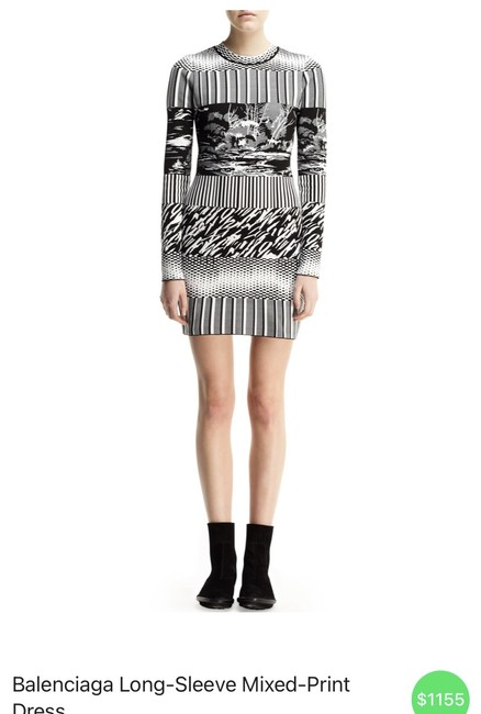 Item - Black and White Pattern Short Casual Dress Size 4 (S)