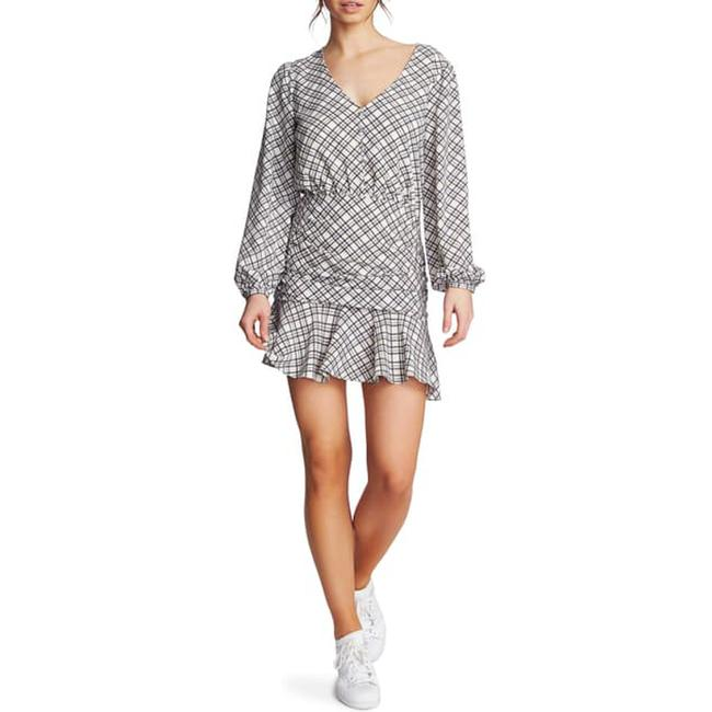 Item - Blue Ruched Plaid Crepe Minidress In Waterscape Short Casual Dress Size 12 (L)