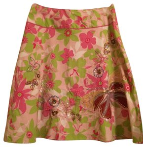 Persaman New York Sequins Beads Butterfly Skirt multi