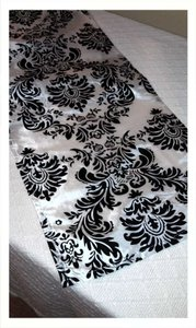 Custom Made Black and White Flocked Damask 15 Table Runners (12.5 Tablecloth